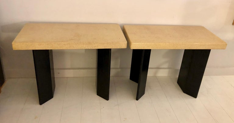 Pair of Paul Frankl Ebonized Oak and Cork Console Tables For Sale 6