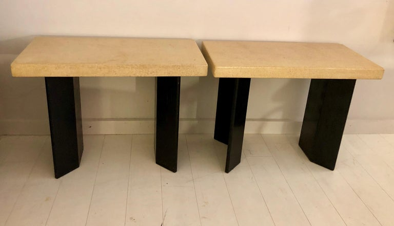 Pair of Paul Frankl Ebonized Oak and Cork Console Tables For Sale 7