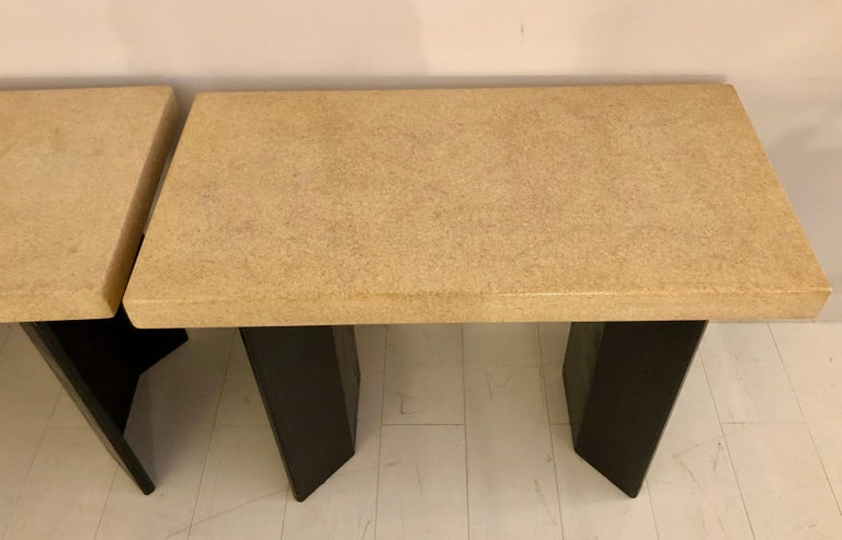 Pair of Paul Frankl Ebonized Oak and Cork Console Tables For Sale 8