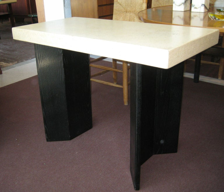 Chic and nicely sized pair of tables retaining remarkably clean original black ebonized bases and natural aged cork top. Johnson Brothers paper label attached. Priced as a pair.