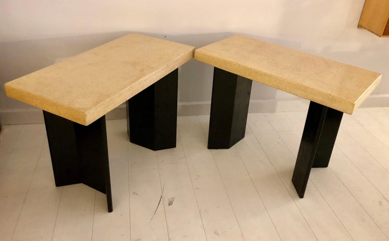 Mid-Century Modern Pair of Paul Frankl Ebonized Oak and Cork Console Tables For Sale