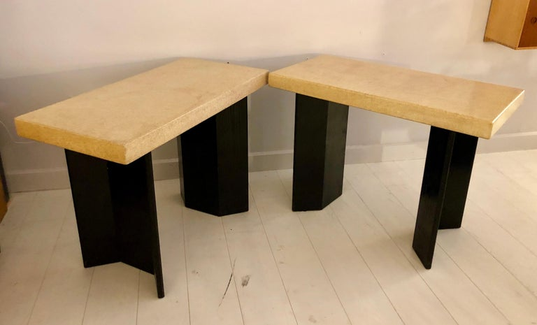 American Pair of Paul Frankl Ebonized Oak and Cork Console Tables For Sale