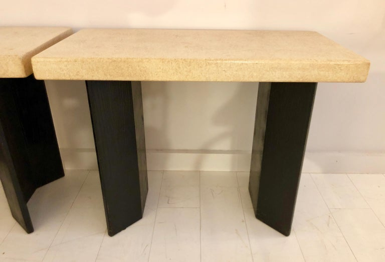 Pair of Paul Frankl Ebonized Oak and Cork Console Tables For Sale 1