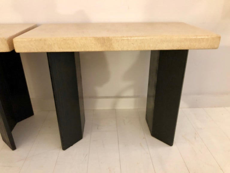 Pair of Paul Frankl Ebonized Oak and Cork Console Tables For Sale 3
