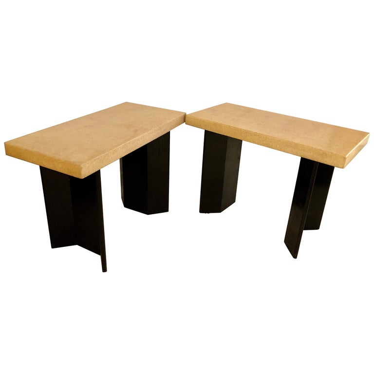 Pair of Paul Frankl Ebonized Oak and Cork Console Tables For Sale