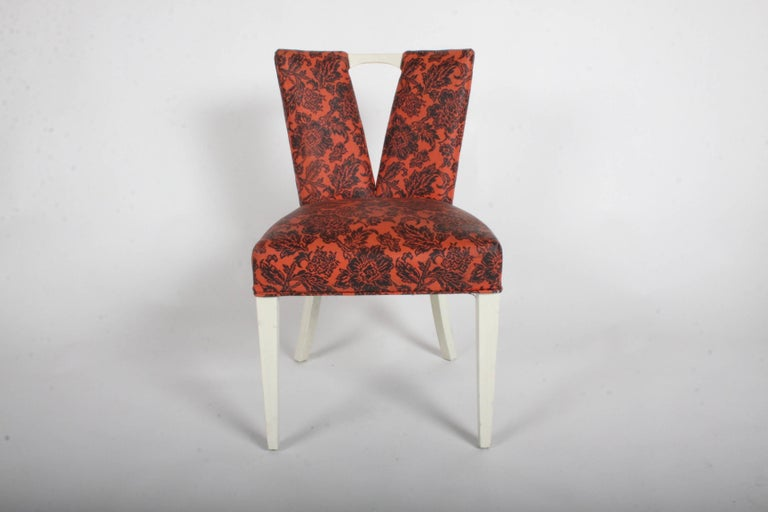 Pair of Paul Frankl for Johnson Furniture Co. Corset side or dining chairs also know as plunging neckline or