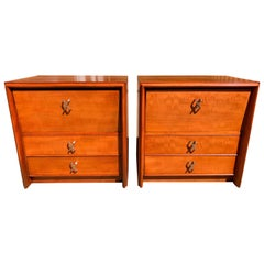 Pair of Paul Frankl for Johnson Furniture Cherry Nightstands with Nickel X-Pulls