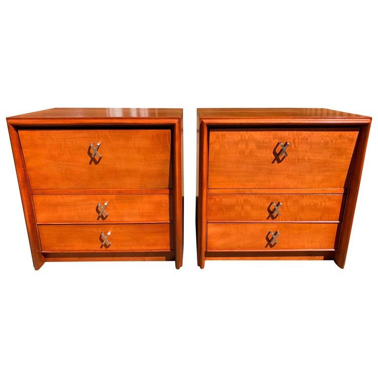 Johnson Furniture Cherry Nightstands, Paul Frankl Johnson Furniture Company