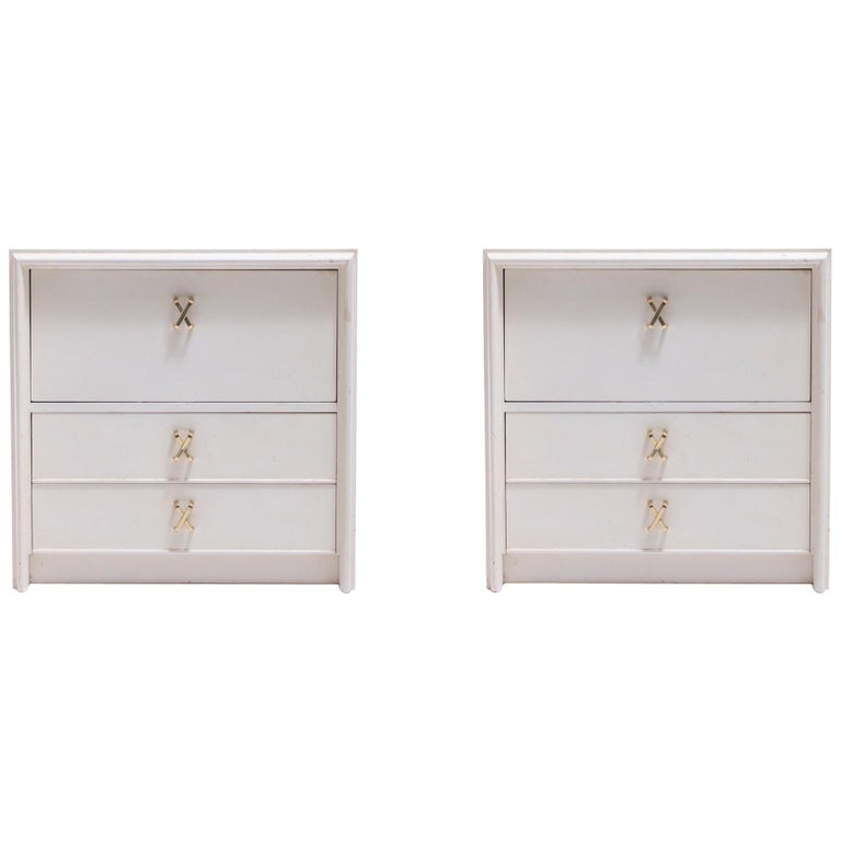 Pair of Paul Frankl Ivory Lacquered Night Stands with Brass X Pulls, circa 1950 For Sale