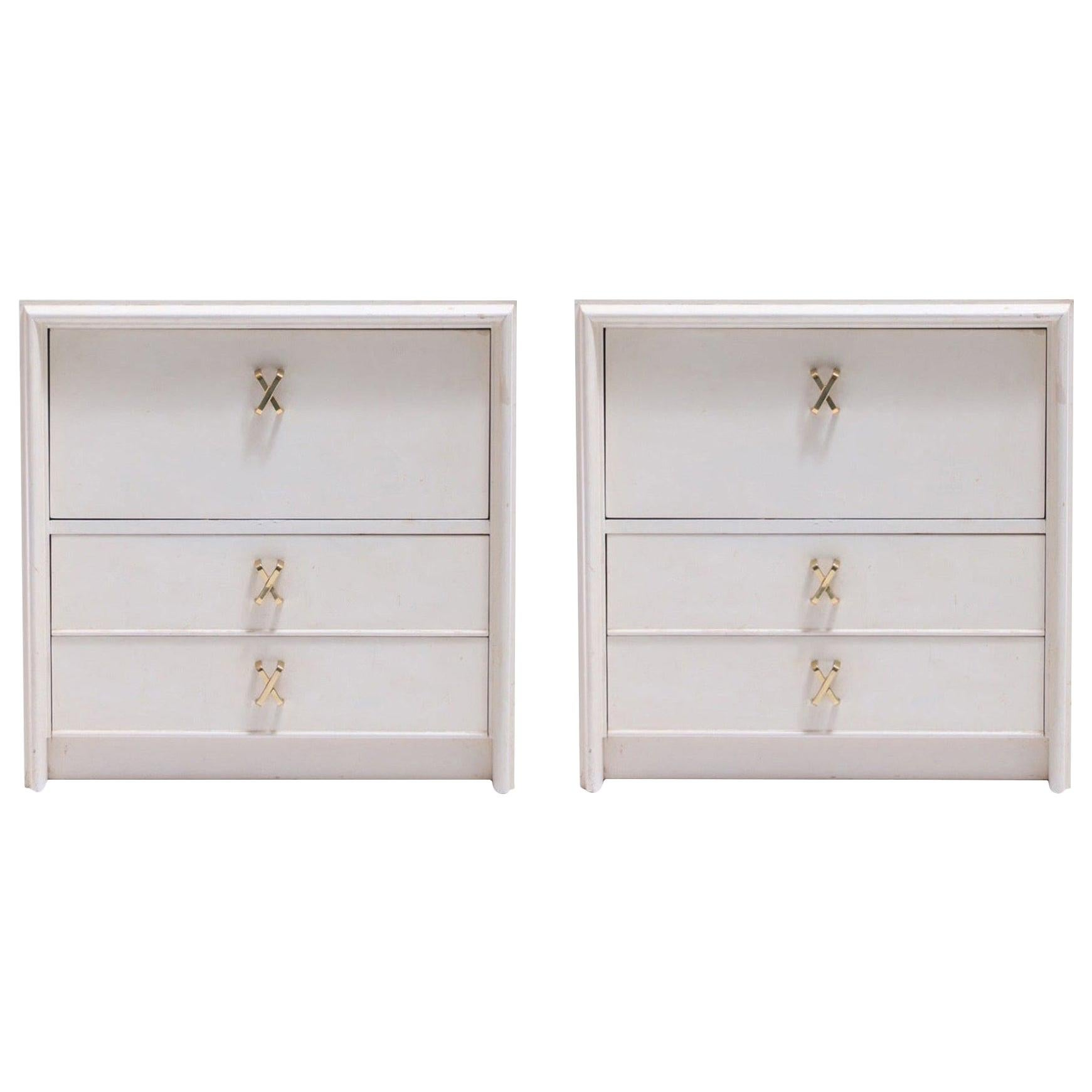 Pair of Paul Frankl Ivory Lacquered Nightstands with Brass X Pulls, circa 1950