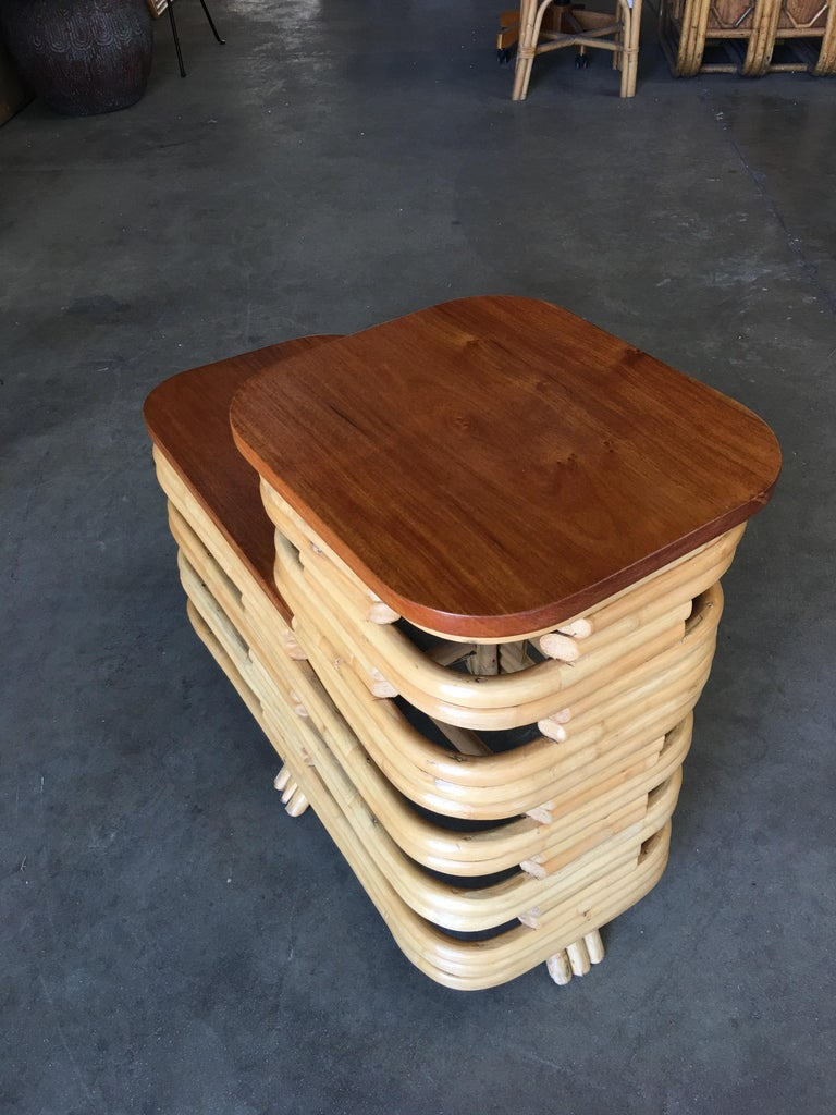 Pair of Paul Frankl Stacked Rattan Side Table with Legs In Excellent Condition For Sale In Van Nuys, CA