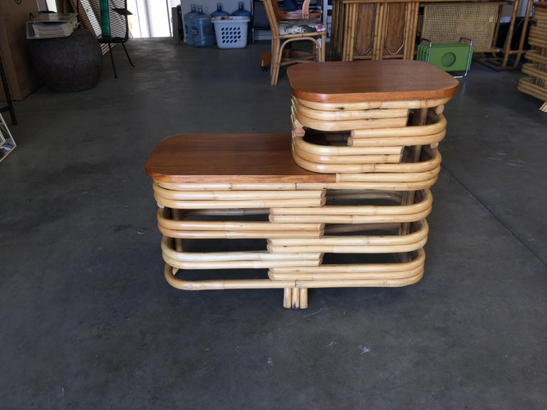 Mid-20th Century Pair of Paul Frankl Stacked Rattan Side Table with Legs For Sale