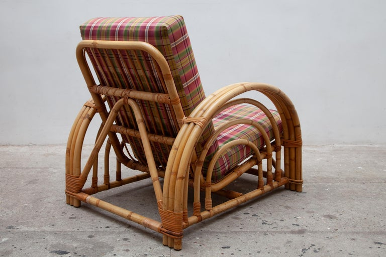 Austrian Pair of Paul Frankl Style Pretzel Bamboo Patio Lounge Chairs, Mid-Century Modern For Sale