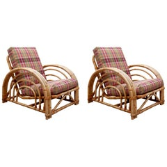 Pair of Paul Frankl Style Pretzel Bamboo Patio Lounge Chairs, Mid-Century Modern