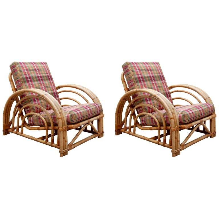 Pair of Paul Frankl Style Pretzel Bamboo Patio Lounge Chairs, Mid-Century Modern For Sale