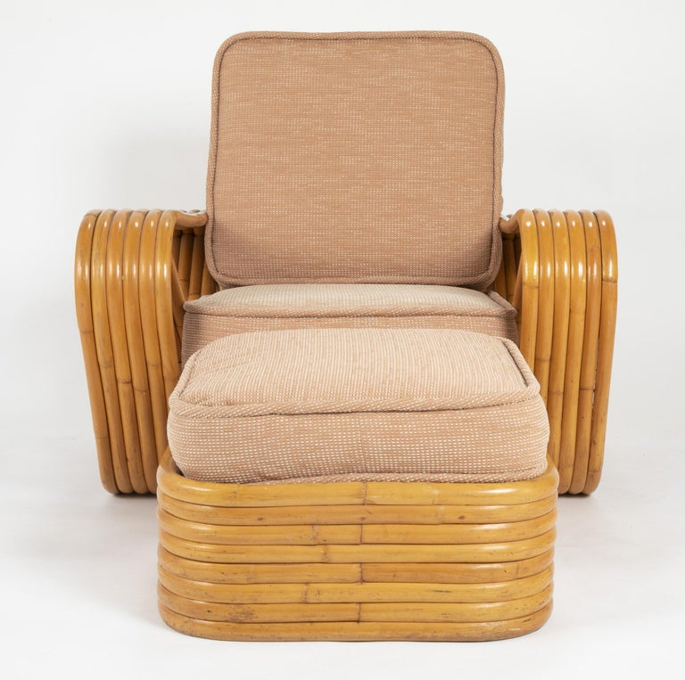 Mid-20th Century Pair of Paul Frankl Style Rattan Armchairs with Ottomans For Sale