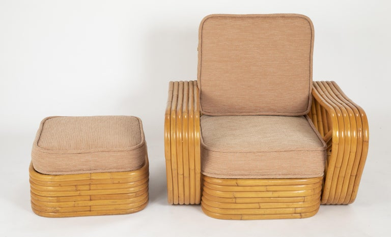 Pair of Paul Frankl Style Rattan Armchairs with Ottomans For Sale 2