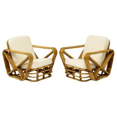 Pair of Paul Frankl Style Rattan Lounge Chairs, France, 1950s