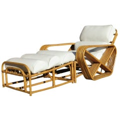 Pair of Paul Frankl Style Square Pretzel Rattan Lounge's with Ottoman's