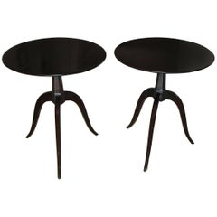 Pair of Paul Frankl Tripod Dark Walnut End Side Tables