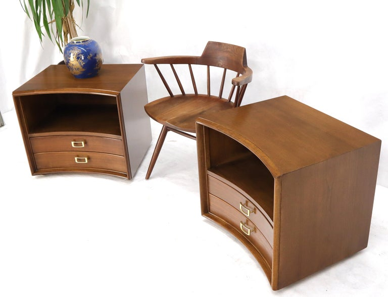 American Pair of Paul Frankl Walnut Nightstands for Johnson Furniture Solid Brass Pulls For Sale