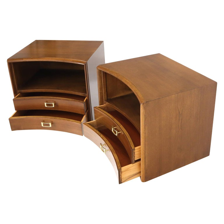 Pair of Paul Frankl Walnut Nightstands for Johnson Furniture Solid Brass Pulls For Sale