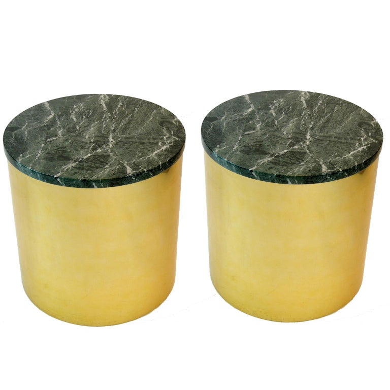 American Pair of Paul Mayen Cylindric round Brass and Green Marble End Tables For Sale
