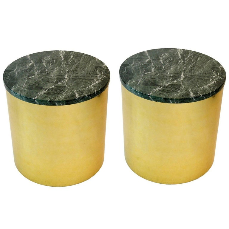 Pair of Paul Mayen Cylindric round Brass and Green Marble End Tables For Sale