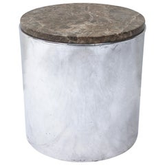 Pair of Paul Mayen Polished Steel and Marble Side Tables