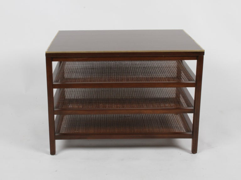 Pair of Paul McCobb 3 Tiered End Tables in Mahogany with Cane and Brass Edge For Sale 4