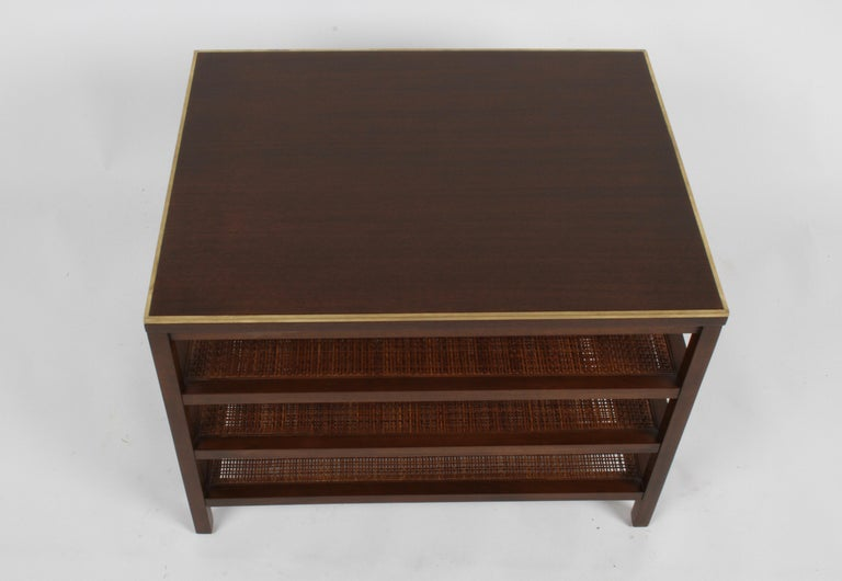 Pair of Paul McCobb 3 Tiered End Tables in Mahogany with Cane and Brass Edge For Sale 5