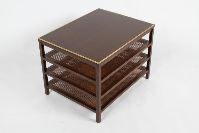 Pair of Paul McCobb 3 Tiered End Tables in Mahogany with Cane and Brass Edge For Sale 9