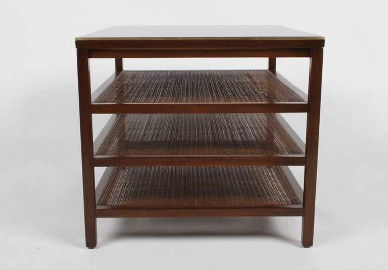 Mid-Century Modern Pair of Paul McCobb 3 Tiered End Tables in Mahogany with Cane and Brass Edge For Sale