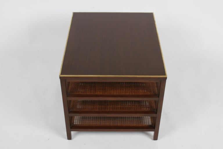 American Pair of Paul McCobb 3 Tiered End Tables in Mahogany with Cane and Brass Edge For Sale