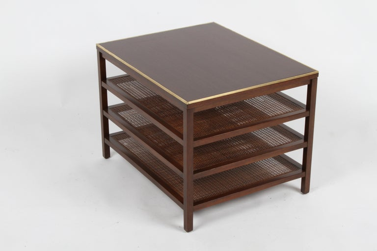 Pair of Paul McCobb 3 Tiered End Tables in Mahogany with Cane and Brass Edge In Good Condition For Sale In St. Louis, MO
