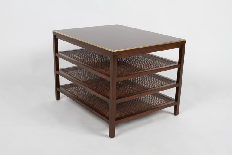 Mid-20th Century Pair of Paul McCobb 3 Tiered End Tables in Mahogany with Cane and Brass Edge For Sale