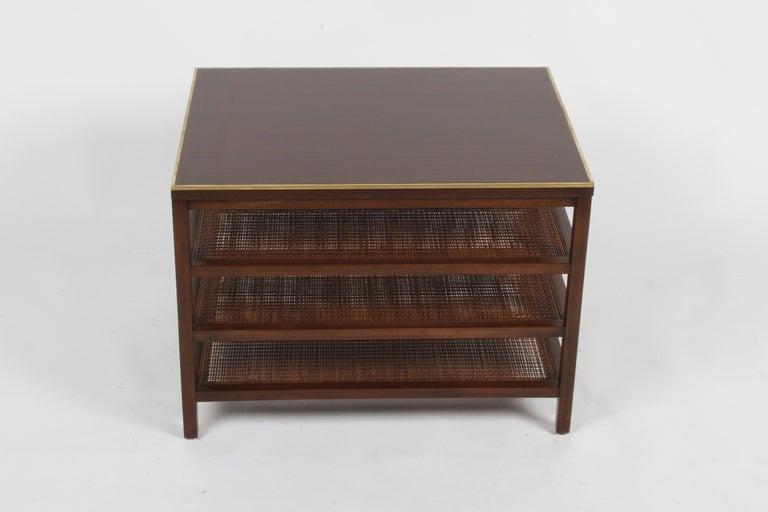Pair of Paul McCobb 3 Tiered End Tables in Mahogany with Cane and Brass Edge For Sale 2