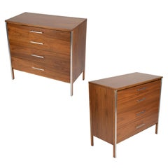 Pair of Paul McCobb for Calvin Dressers in Walnut and Aluminum, circa 1960s