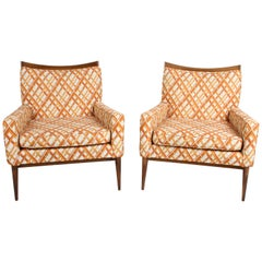 Pair of Paul McCobb for Directional Model 1322 Lounge Chairs, Original Fabric