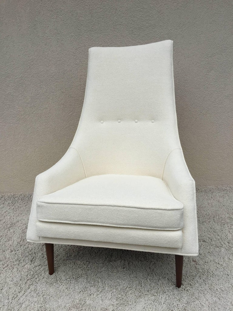 American Pair of Paul McCobb High Back Club Chairs or Slipper Chairs For Sale