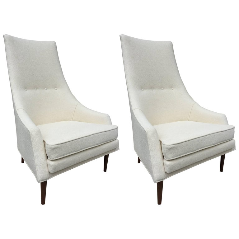 Pair of Paul McCobb High Back Club Chairs or Slipper Chairs For Sale