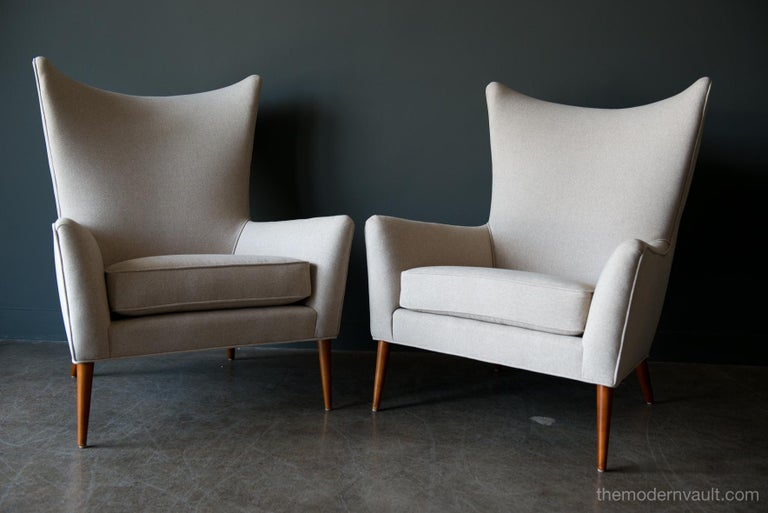 American Pair of Paul McCobb Model 3015 Wingback Lounge Chairs, circa 1955 For Sale