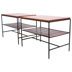 Pair of Paul McCobb 'Planner Group' Iron and Maple Occasional Tables