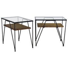 Pair of Paul McCobb Style Glass Top End Tables