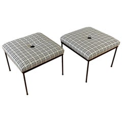 Pair of Paul McCobb-Style Houndstooth Upholstered Ottomans by Mallin, 1950s