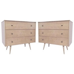Pair of Paul McCobb Three-Drawer Planner Group Chest of Drawer Dressers