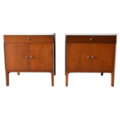 Pair of Paul McCobb Walnut and Marble Nightstands or End Tables, circa 1960
