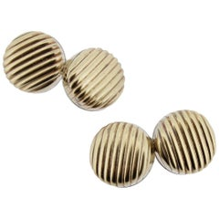 Pair of Paul Stuart Italian Gilt Sterling Silver Ribbed Button-Form Cufflinks