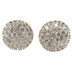 Pair of Pave Diamond and Gold Earrings
