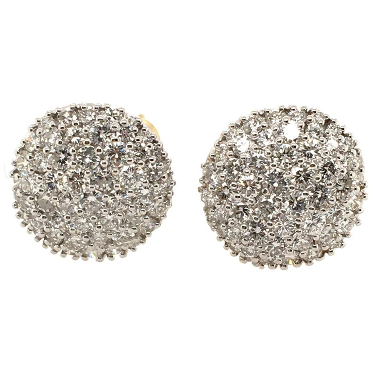 Pair of Pave Diamond and Gold Earrings For Sale
